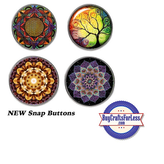 SNAP MANDALA Buttons, 18mm INTERCHaNGABLE Buttons, 4 NeW designs +FREE Shipping & Discounts