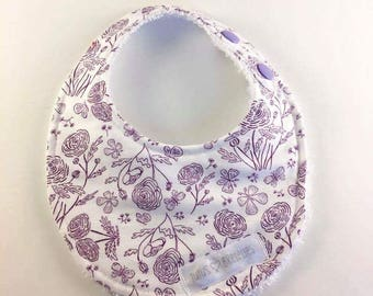 Newborn bib - purple flowers