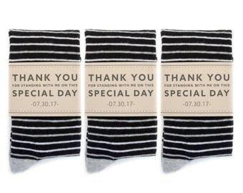 3 Pack Groomsmen Socks with Custom Label | Black and White Striped Socks | Wedding Day Socks | Groomsmen Gifts | Groomsmen Proposal Idea
