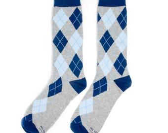 Groomsmen Socks Thank You Gift | Blue and Grey Argyle Socks | Wedding Day Socks | Groomsmen Gifts | Groomsmen Proposal Idea | Men's Socks