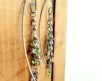 Green Peridot Earrings Handmade 925 Sterling Silver Artisan