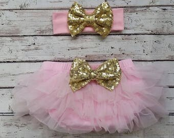 Baby bloomers, baby bloomers headband, sequin bow headband, ruffled bloomers, pink bloomers, pink and gold birthday, first birthday