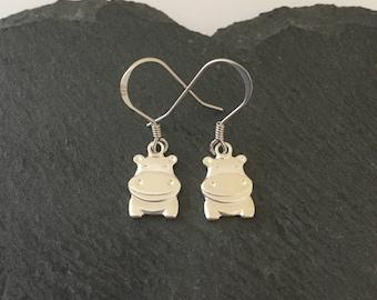 Sterling Silver Hippo earrings / hippo jewellery / animal earrings / animal jewellery / animal lover gift