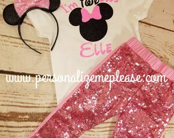 Minnie Mouse Birthday Outfit, Girls Twoodles Birthday 2nd Outfit, Light Pink and Black Second Birthday Outfit, Sequin Pants Birthday Outfit