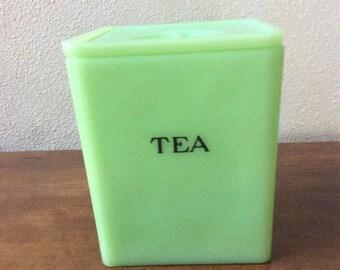 Jeannette jadite Tea canister with floral lid