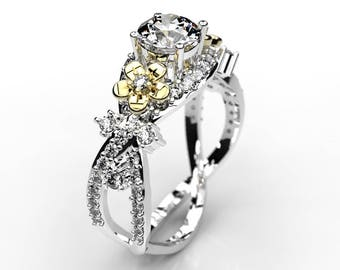 0.63 cts Moissanite Engagement Ring with 0.5 cts Natural Diamond Accent Stones 14K White/Yellow Gold Ring