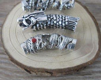 3Pcs/Lot Tibetan Silver Dragon Hair Braid Dread Dreadlock Tube Beads 7.5mm