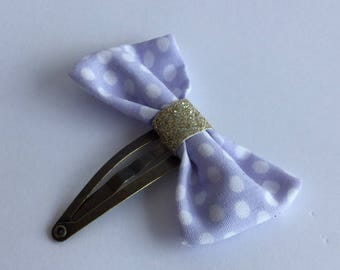 Golden blue-purple bow and glitter hair clip