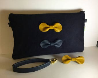 Hand-cashmere and Leather Clutch bag