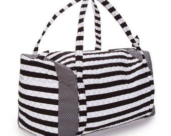 Large Quilted Black & White stripes Duffel bag, duffel bag, bags, travel bag, travel accessories, quilt bags, handbags, travel, luggage