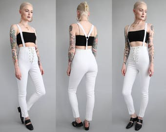 Vtg 90s Frederick's of Hollywood White Suspender Jeans sz XS