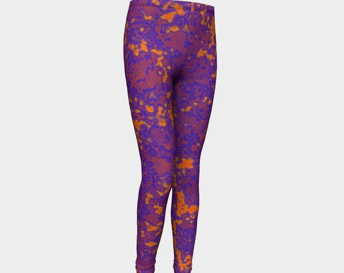 Girls Leggings, Purple and Orange Leggings, Girls Yoga Leggings, Leggings, Girls Clothes, Back to School Leggings, Girls Yoga Pants