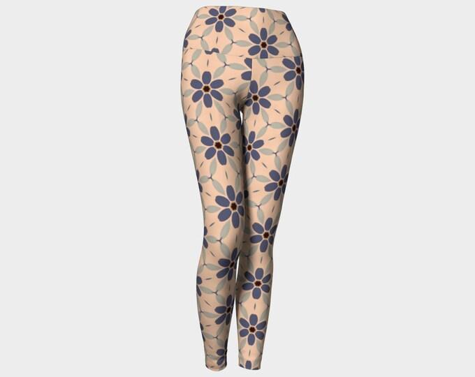 Indigo Large Daisy Yoga Leggings, Yoga Leggings, Women's Leggings, Printed Leggings, Yoga Pants, Gift for Her