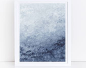 Abstract Watercolor Print, Printable Wall Art, Abstract Printable Art, Blue Watercolor Print, Blue Wall Art, Blue Abstract Art, Art Print