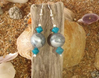 Earrings in polymer clay bicone and round beads