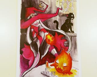 Poster spark friends Pepe's pen (witch, cat, fire, calcifer, hommage, ghibli, watercolor, watercolor)