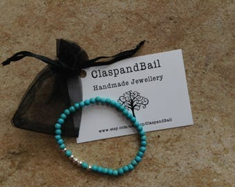 Turquoise Howlite and sterling silver seamless bead stretch stacking bracelet
