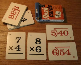 Mid-Century ED-U-CARDS Multipication and Dividion Flash Cards, 1960