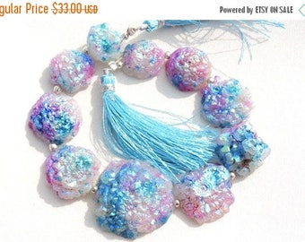 On Sale 10 Pcs Very Beautiful Natural Blue Titanium Coated Druzy Round Beads Size 30 - 16 MM