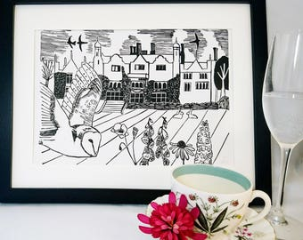 Country House & Barn Owl Linocut Print - Afternoon Tea at the Manor Linoprint - Art/Gift for Country Garden or Bird Lovers (Edition of 7)
