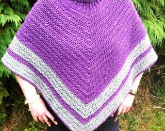 Purple and Grey Striped Cowl neck Poncho