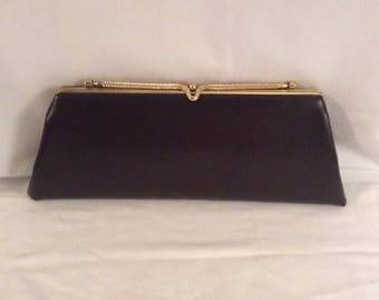 Vintage Chocolate Brown Leather Clutch