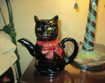 Nice Vintage Shafford Ceramic Large Black Cat Teapot With Red Bow Tie