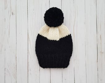 Adult Slouchy Pompom Hat, Knitted Toque, Knitted Beanie  - Rory Hat