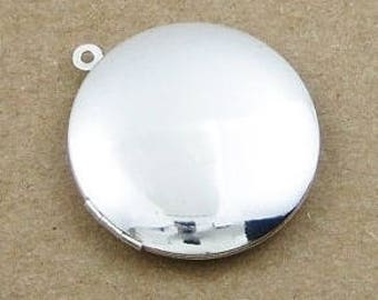 silver plated brass round locket pendant
