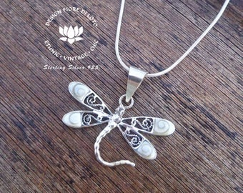 Shiva Eye and Silver Dragonfly Pendant, Beautiful and Intricate Design, Vintage Dragonfly Pendant, Dragonflies Lovers, Gift for her