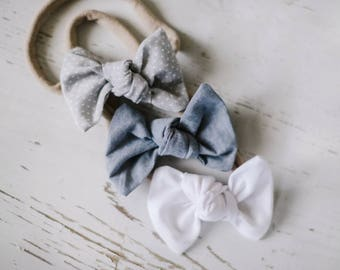 White, Chambray, & Grey Dot Baby Headband Set. Baby Headbands. Baby bows Soft baby headband Nylon headband Toddler Accessories Baby Bow Clip
