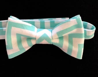 Father & Son Bow Ties; Adult and Child Chevron Bow Tie; Aqua Chevron Bow Tie; Toddler-Adult Aqua Chevron Bow Tie; Adult  Aqua Chevron Bowtie