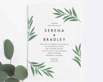 Greenery Wedding Invitation Set, Minimalist Wedding Invitation Set, Botanical Wedding Invitation Set / Printable PDF