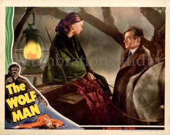 The Wolf Man, Original 1941 Movie Lobby Card Reprint, Lon Chaney Jr., Werewolf, Wolfman Archival Print