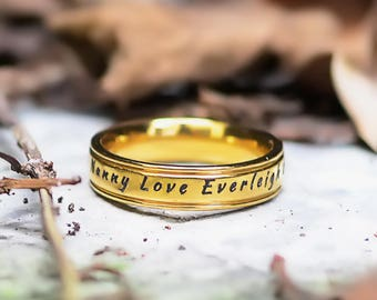 Gold Wedding Rings, Promise Rings, Personalized Ring, BF Personalised Ring Gold ONLY 49