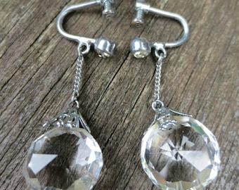 Art Deco Rock Crystal Screw Earrings Vintage Screw Back Clear Rock Quartz Crystal Drop Dangle Earrings
