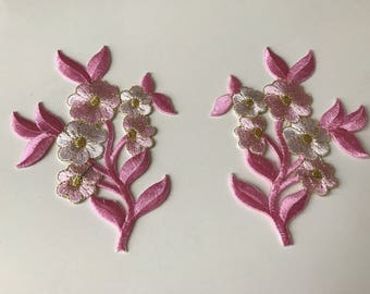 Applique embroidered pink iron