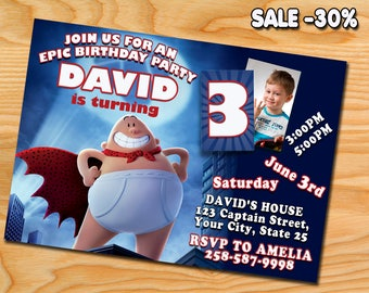 Captain Underpants Movie Party, Captain Underpants Invitation, Captain Underpants Invite, Captain Underpants Birthday Party