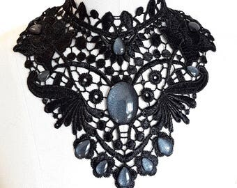 Necklace collar Choker of necklace lace wing black drops jewelry Gothic WGT