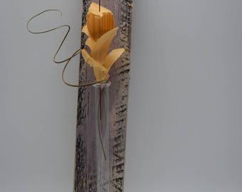 Glass vase, vase, flower vase, wall flower vase, test tube, mural, mural, Woodart, wood picture, gift idea, Upcycling, wood, Holztatoo
