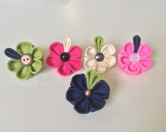 Set of 5 Kanzashi Flower Lapel Pin in Fucsia, Pink, Green, Dark Blue and Ivory Colors