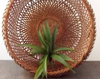 Open Weave Wicker Basket/Boho Bohemian/Plant Basket