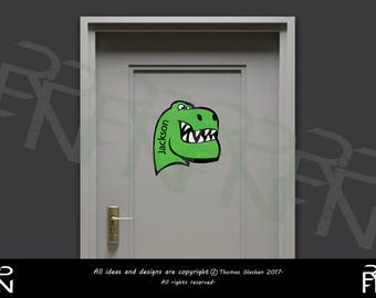 dinosaur decal wall decal door decal wall sticker door sticker personalised