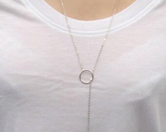 Silver Long Drop Necklace | Silver Lariat Necklace | Silver Y Necklace | Long Bar Necklace | Skinny Bar Necklace | Minimalist Necklace