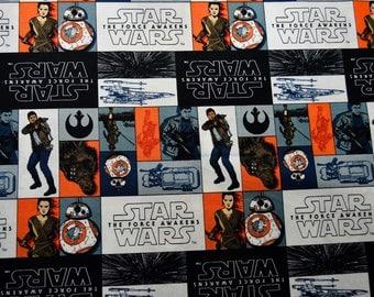 Star Wars Episode VII The Force Awakens Fabric Featuring: Rey, Finn, Chewbacca Etc.