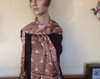 Beautiful satin evening scarf/stole with fringe of beads and tassels.