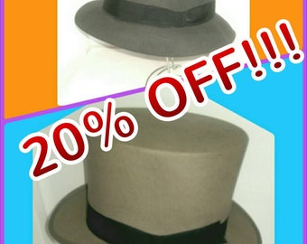 Dunn & Co Grey Top Hat Size 6 7/8