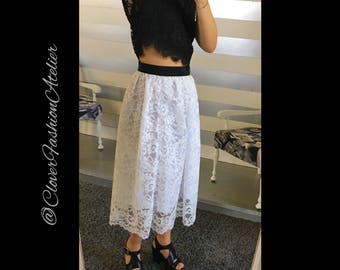hand-made skirt in white best quality lace with black elastic waist