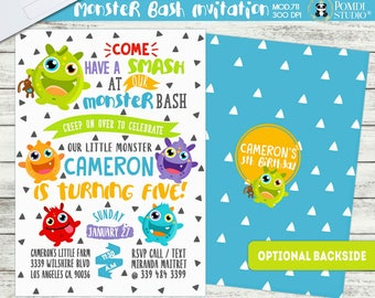 PRINTABLE or PRINTED   Monster Birthday   Monster Party  Monster Bash Optional Thank you cards   Optional Backside  Any age, any wording