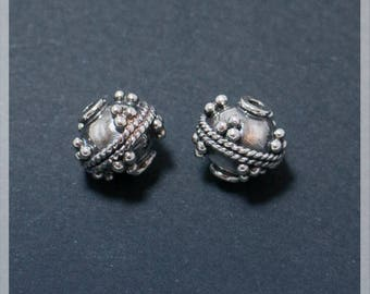 Sterling Silver beads 2 pcs